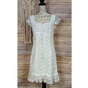 Betsey Johnson | Silk Lace Crochet Babydoll Dress